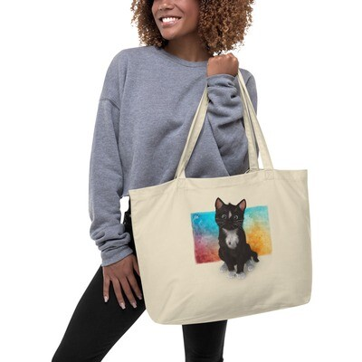Cute Cat on Watercolor - Large organic tote bag