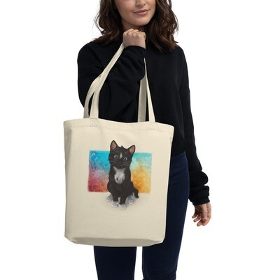 Cute Cat on Watercolor - Eco Tote Bag