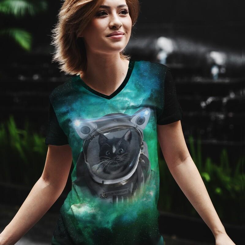 Space Cat Green Nebula - Women's V-neck All-Over Print T-shirt