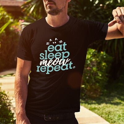 Eat Sleep Meow Repeat - Dark Shirt Colors