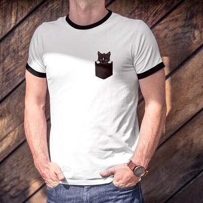 Cute Black Cat Pocket Shirt (printed on)