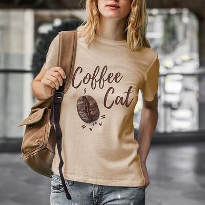 Coffee Cat! Cartoon Kitten Under Coffee Bean