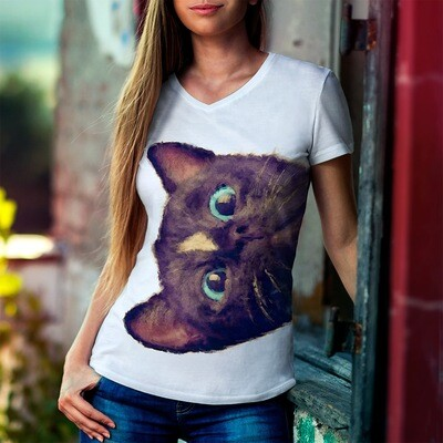 Painted Black Cat Design - Women's V-neck T-Shirt