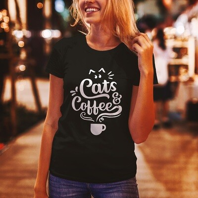 Cats & Coffee, Beautiful Word Art - Sustainable T-Shirt