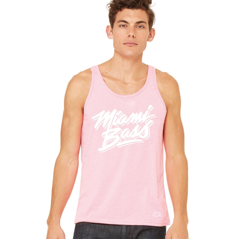 Miami Bass Mens Pink Tank w/ White Logo