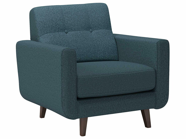 "Rivet Sloane Mid-Century Modern Tufted Accent Chair, 32.7""W, Denim"