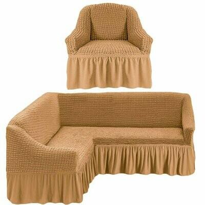 Комплект чехлов на угловой диван и кресло