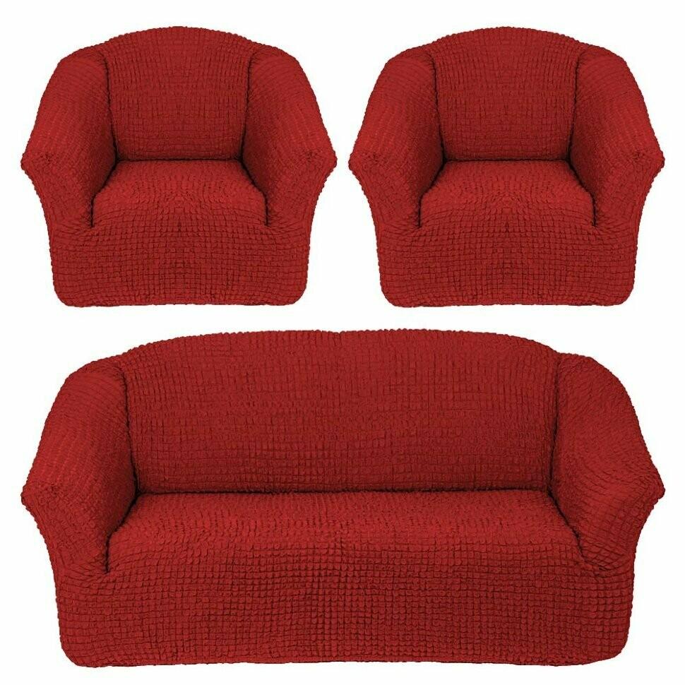 Комплект чехлов на трехместный диван +2 кресла без оборок