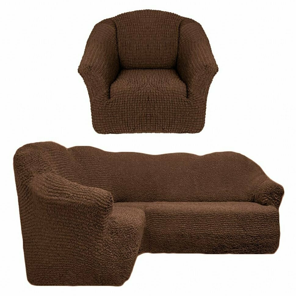 Чехол на угловой диван +кресло без оборок