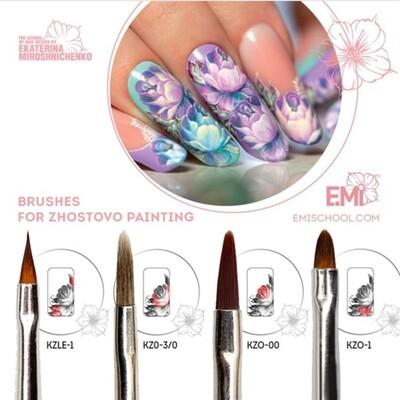 Set of brushes for Zhostovo painting