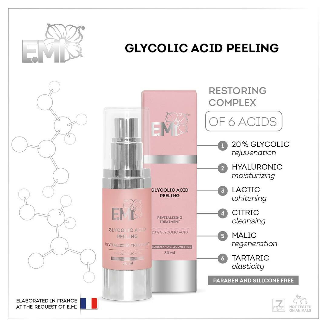 Glycolic Acid Peeling, 30 ml. Silicons and parabens free