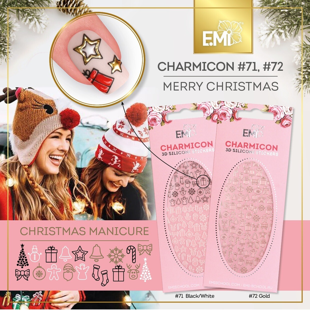 Charmicon Silicone Stickers #72 Merry Christmas GOLD