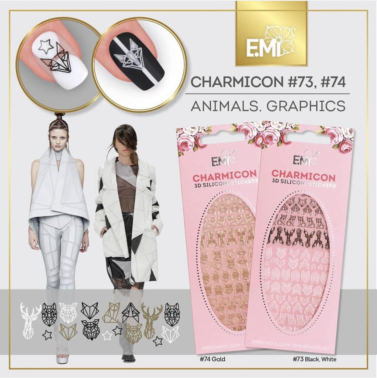Charmicon Silicone Stickers #74 Animals. Graphics GOLD