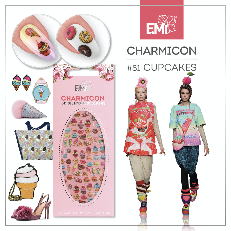 Charmicon Silicone Stickers #81 Cupcakes
