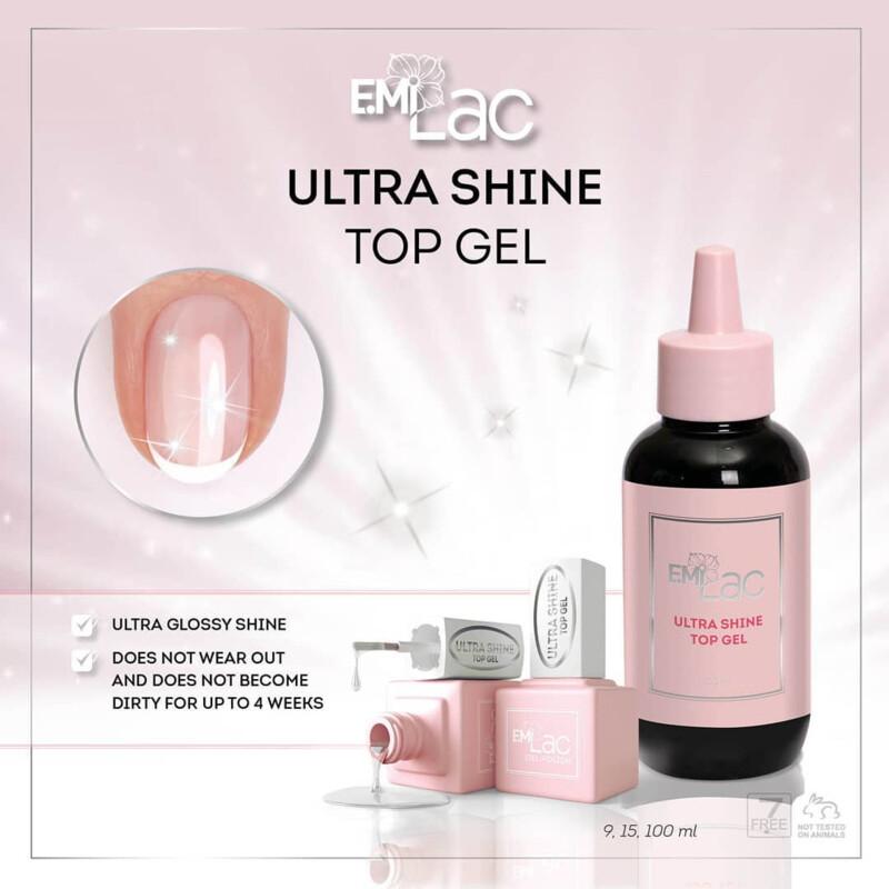 E.MiLac Ultra Shine Top Gel, 9/15/100 ml.