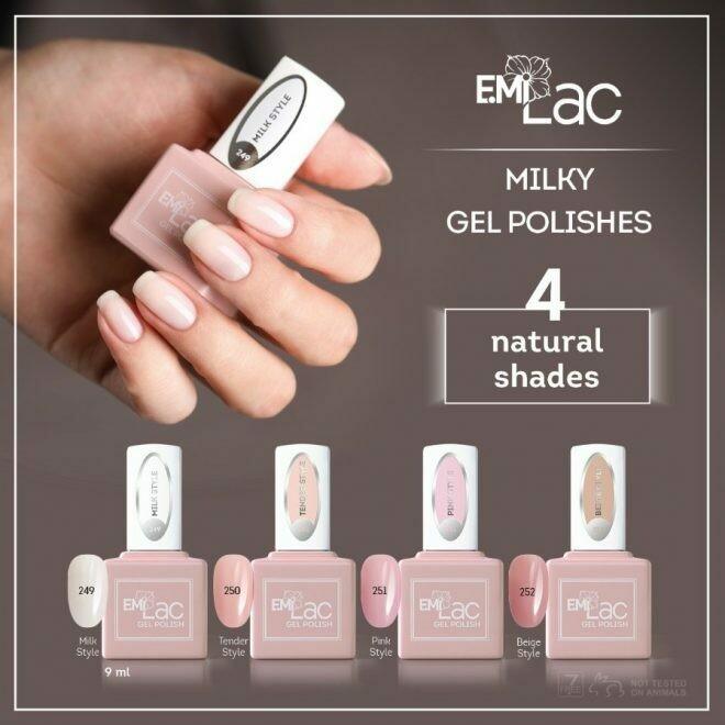 Set 4 Natural Shades Milky Gel Polishes