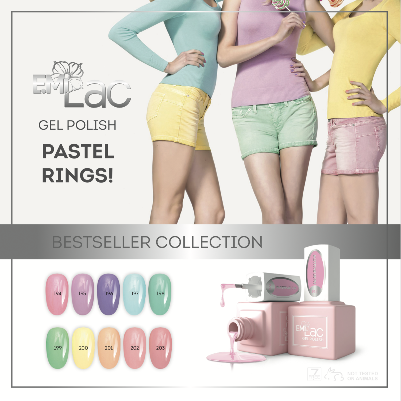 SET E.Milac Pastel Rings, 10x9 ml.