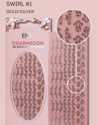 Charmicon Silicone Stickers Swirl #1 Gold/Silver