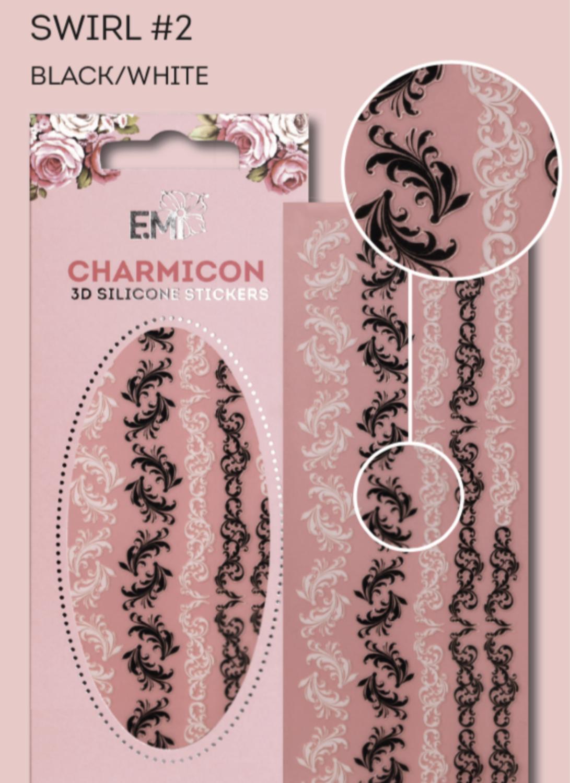 Charmicon Silicone Stickers Swirl #2 Black/White
