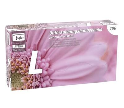 Pink nitril hand gloves, powder free - 100 pcs -Size M