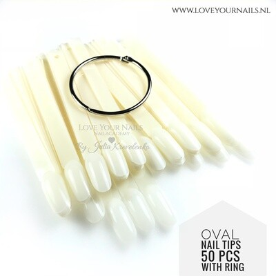 Tips ovaal met ring (color pops) naturel of clear - 50st.