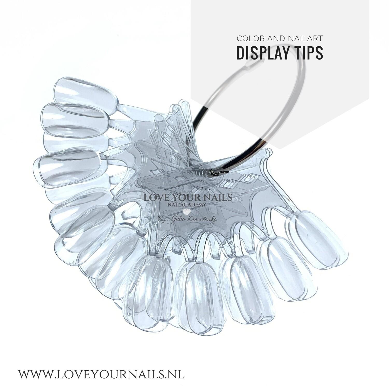 Crown Nail Display Tips naturel en clear, with Ring. 50 pcs