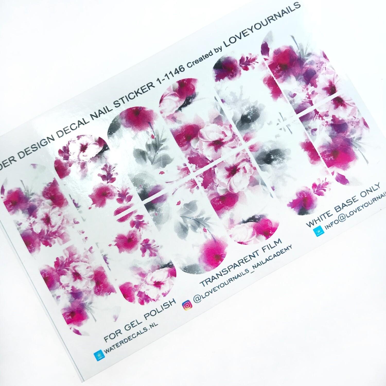 Bloemen pink&gray 1-1146