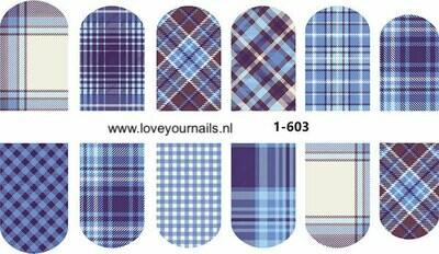 Schotse ruit motief, blauw 1-603w
