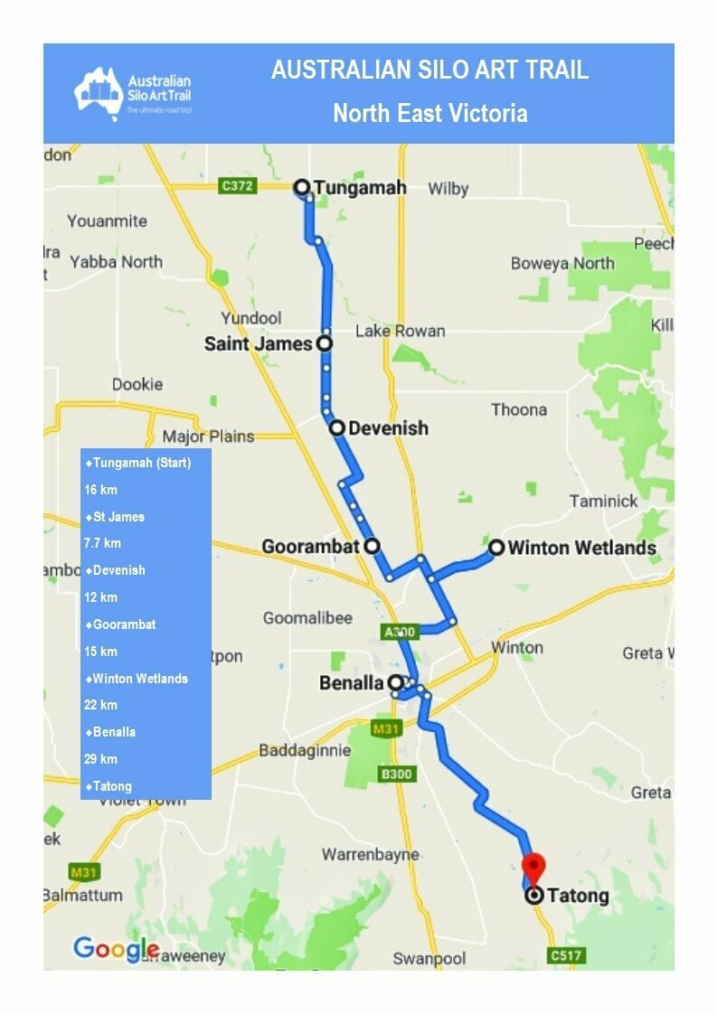 Map Of North East Victoria Australia.Victorian Silo Art Trail North East Region Basic Downloadable Map