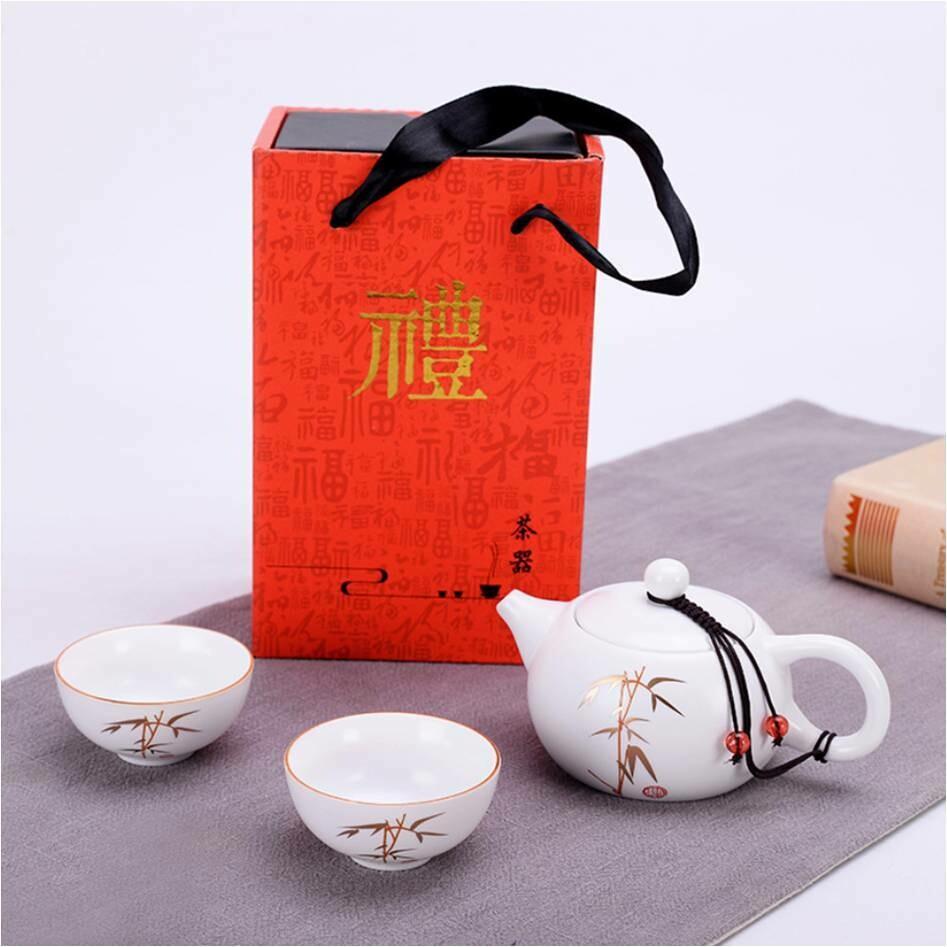 """Подарочный набор  """"Бамбук"""" чайник 180мл. и 2 пиалы, фарфор"""