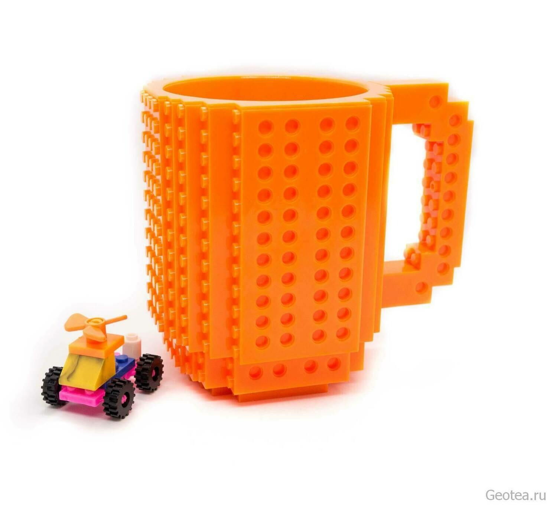 Кружка Лего 350 мл. оранжевая с мини набором