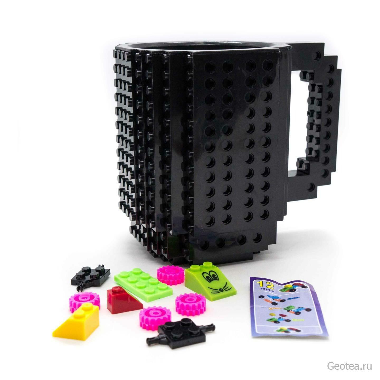 Кружка Лего 350 мл. черная с мини набором