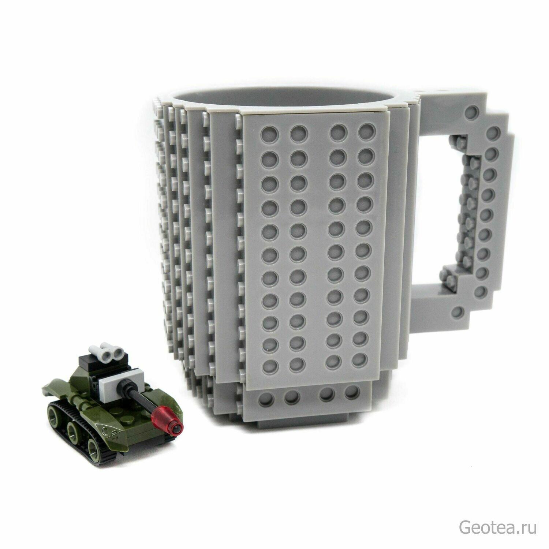 Кружка Лего 350 мл. серая с мини набором