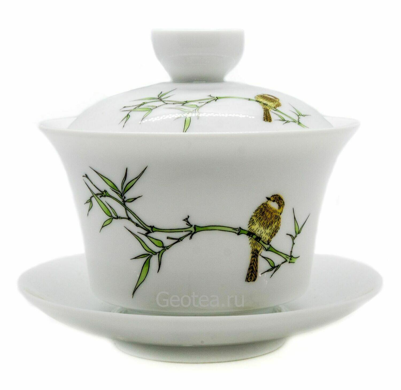 "Гайвань ""Птица в зарослях бамбука"" фарфор, 160мл."
