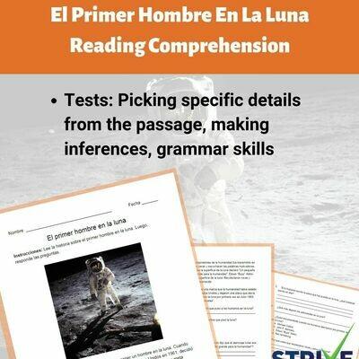 El Primer Hombre En La Luna Reading Comprehension Worksheet