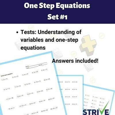 One Step Equations - Set 1