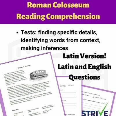 Roman Colosseum Reading Comprehension (Latin Versions)