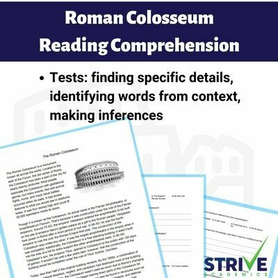 Roman Colosseum Reading Comprehension Worksheet