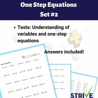 One Step Equations - Set 2