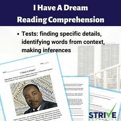 I Have A Dream Reading Comprehension Worksheet