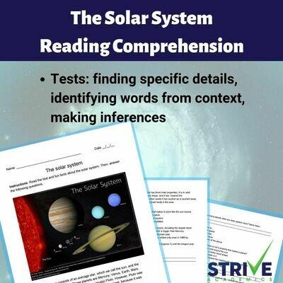 The Solar System Reading Comprehension Worksheet