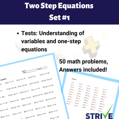 Two Step Equations - Set 1