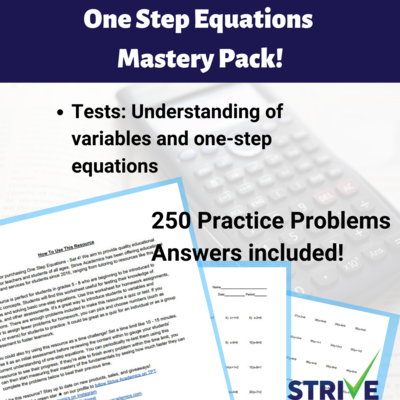 One Step Equations Mastery Pack