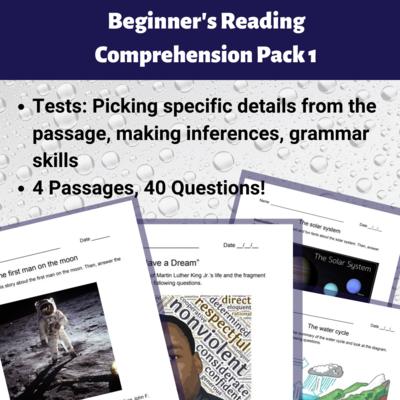 Beginner's Reading Comprehension Pack 1