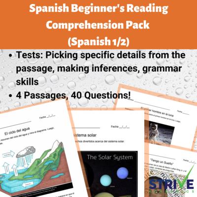 Spanish Beginner's Reading Comprehension Pack 1 (Spanish 1)