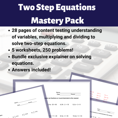 Two Step Equations Mastery Pack