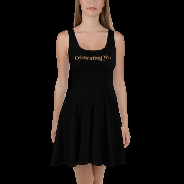 Celebrating You Designer Skater Dress with White Trim - WONO - Nude on Black
