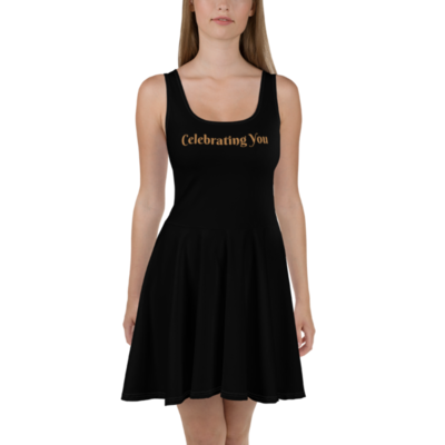 Celebrating You Designer Skater Dress with White Trim - WONO - Nude on Black