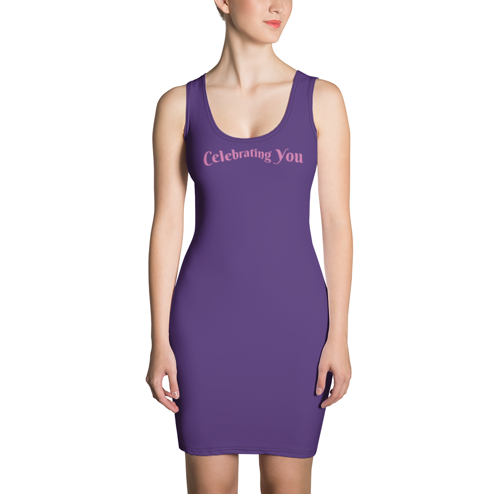 Celebrating You Designer Sublimation Cut & Sew Dress with Black Trim - WONO - Light Pink on Dark Purple