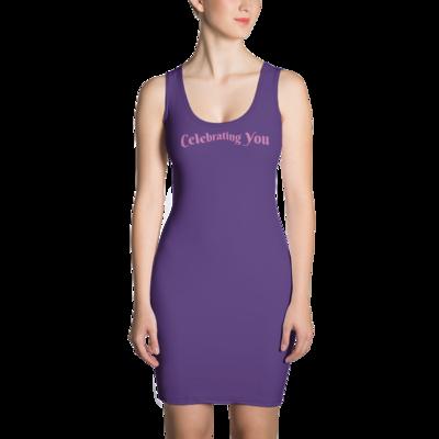 Celebrating You Designer Sublimation Cut & Sew Dress with Black Trim - WONO - Light Pink on Dark Purple